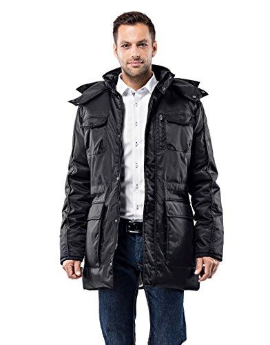 Vincenzo Boretti Herren Winter-Jacke dick warm gefüttert Parka kuschelig sportlich elegant Winter-Mantel Slim-fit tailliert lang für Outdoor Business mit Steh-Kragen und Kapuze schwarz L