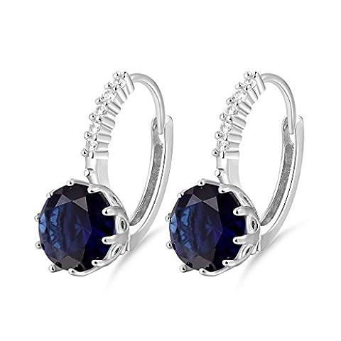 Gulicx Boucles d'oreilles Créole Argent Fin 925 Avec Cristal Diamètre 9mm Bleu Foncé Rond en Swarovski Elements Pour