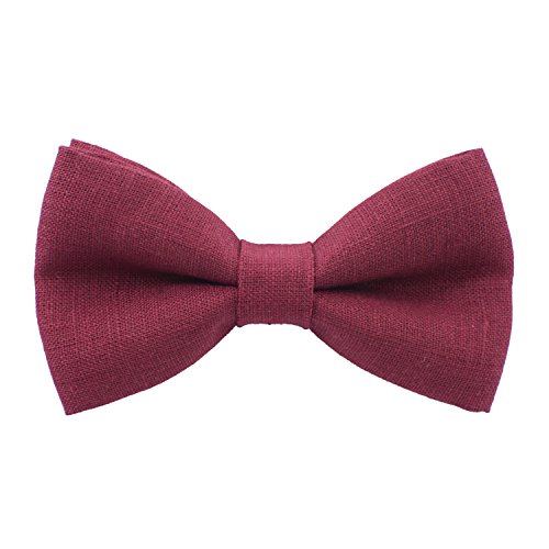 Bow Tie House Linen Classic Pre-Tied Bow Tie Formal Solid Tuxedo, by (Small, Dark Red) Bow Tie Solid Light