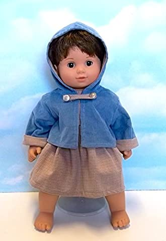 Blue Corduroy Jacket and Tweed Dress. Fits 15 Dolls like Bitty Baby and Bitty Twin