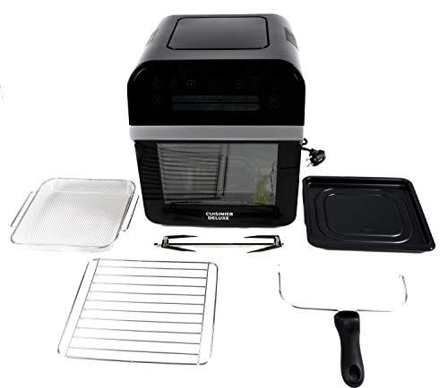 Cuisinier Deluxe 12 Liter Air-Fryer Heissluft-Friteuse 1600W Fritöse Frittöse Heißluftfritteuse, Schwarz