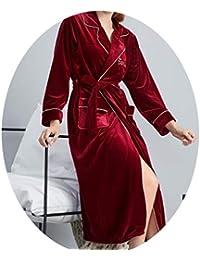 pajamas Bata Larga para Damas de Primavera Y Otoño para Mujer, Pijama Rojo de Terciopelo