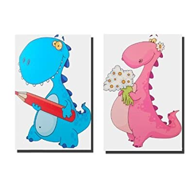 Pair of Kids Nursery Dinosaur Pictures, Bedroom Playroom Canvas Wall Art 40 x 30 - inexpensive UK canvas store.