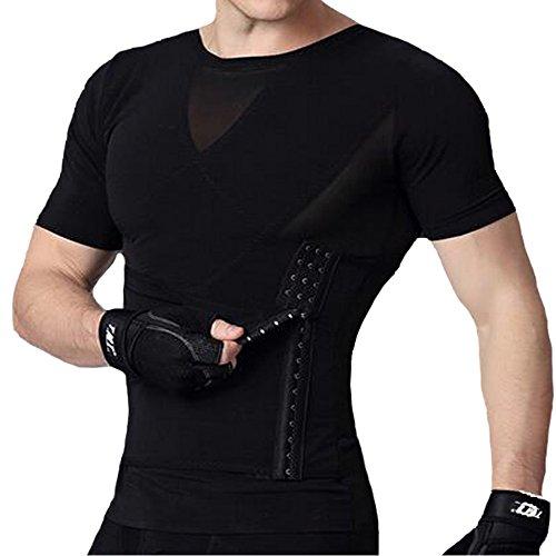 U-Pretty Herren Shapewear Schlank Bauch Hemd Body Shaper 042 (M,Schwarz)