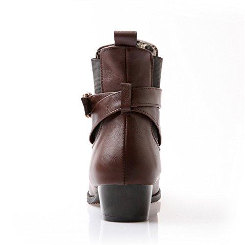 Zq @ Qx En Automne Et En Hiver Code De Grandes Chaussures Femmes Épaisses Et Avec Une Série Basse Et Élégante Et Polyvalente De Broches Femelles Bottes Bottes Courtes Brun