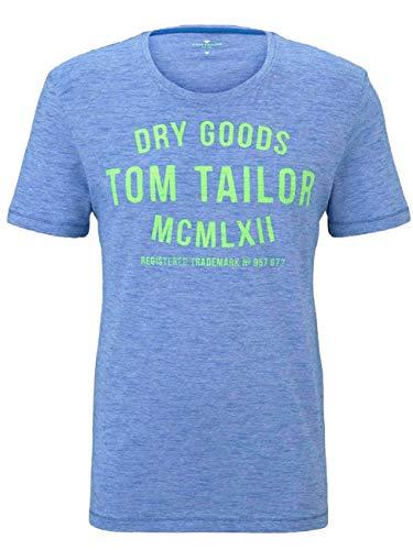 TOM TAILOR Herren Crew Neck Logo Print T-Shirt, Blau_01, XXX-Large -