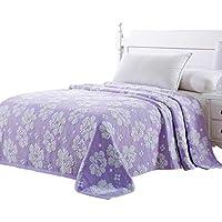MVW Fondo púrpura Flor Blanca Toalla Toalla Manta Colcha sábanas de algodón de Primavera para Adultos
