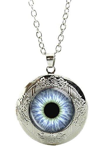 auge Amulett zum Öffnen - Halskette mit Anhänger aus Glas und Kette / Silberschmuck / Indianerschmuck -- 01 (Zeichen Für öffnen)