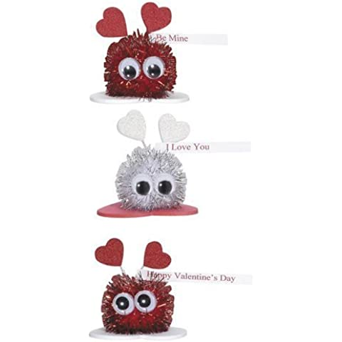 Valentine's Day Sparkle Pom Pom Critters Group Activity Foam Craft Kit (Pack of 3) by Darice