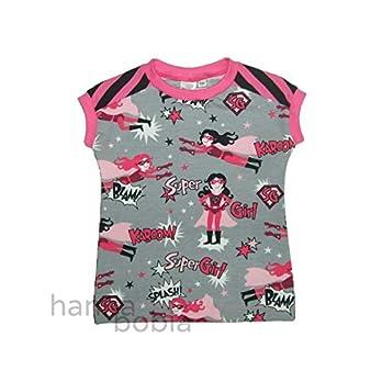 Shirt in Größe 104 mit Supergirl auf grau vorne und pink-schwarzen Ringel hinten, Bündchen pink, 95% Baumwolle, 5% Elasthan