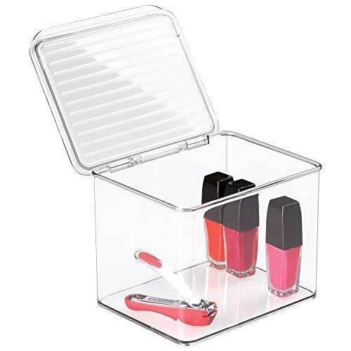 Contenedor transparente con tapa de mDesign - Caja apilable con múltiples usos en el baño, la cocina o el despacho Excelente sistema de almacenaje para poner en orden y acceder cómodamente a todo tipo de objetos. Diga adiós al desorden...