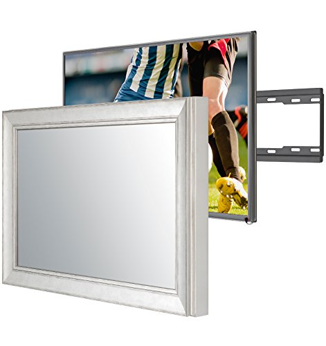 Handmade Framed Mirror TV with Samsung UE49KU6400 to Blend This Hidden Mirrored Television into Your Home or Business Decor (49 Inch, NY Silver Black)