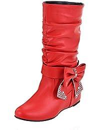 VogueZone009 Damen Mattglasbirne Niedriger Absatz Fransig Mitte-Spitze Ziehen auf Stiefel, Rot, 33