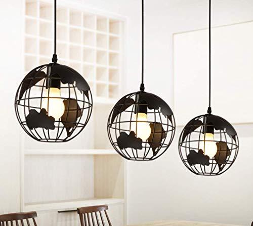 3 Light Earth Globe Karte Kronleuchter, industrielle Vintage Eisen Schmiedekugel Scheune Anhänger Lampenschirm für Loft Schlafzimmer Büro geometrische Lampe, 3 Köpfe, Disc -