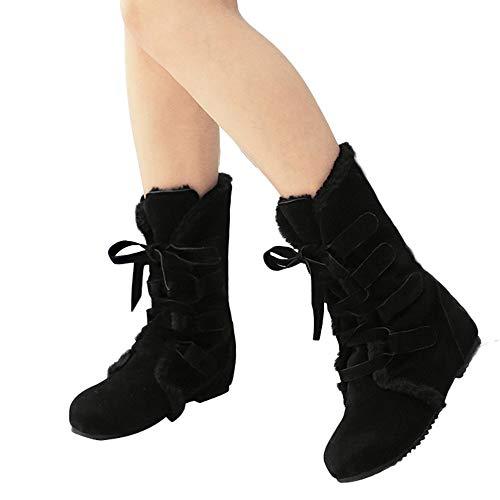 Preisvergleich Produktbild TianWlio Stiefel Frauen Herbst Winter Schuhe Stiefeletten Boots Warme Stiefel Flache Unterseite Schuhe Gekreuzt Schnee Kurze Stiefel Wedges Schuhe Schwarz 41