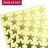3,8cm Metallisches Gold Stern Aufkleber - 25 Blätter, 500 Stück