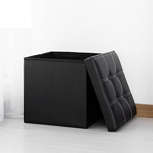 Denzihx Quadratische Leder Lagerung hocker Stuhl Arbeitshocker Osmanischen Veranstalter Inhaber-schwarz 38x38x38cm(15x15x15)
