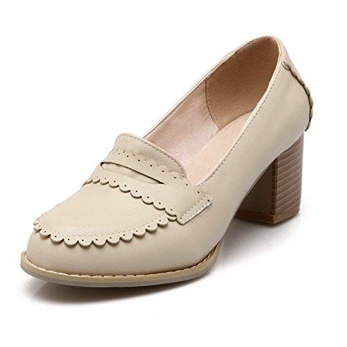 Senhoras Creme Macio Sapatos Bombas Allhqfashion Material Toe Sorteio Puro Aproximadamente rqrw8H