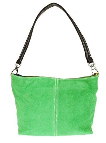 Girly HandBags Wildleder Umhängetasche Henkeltasche italienisch Tasche Hellgrün