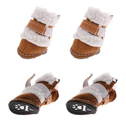 B Blesiya 4pcs Hundeschuhe Pfotenschutz Warme Fleece Schuhe mit Rutschfester Sohle - Khaki, ()