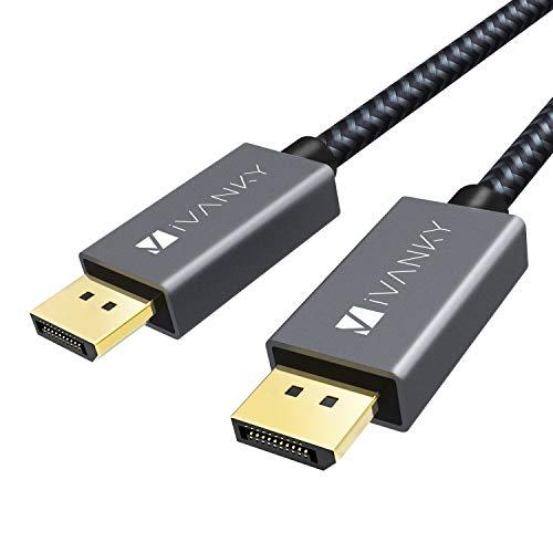 iVANKY DisplayPort Kabel, DisplayPort auf DisplayPort Kabel (4K@60Hz und 2K@144Hz), DP Kabel geeignet für Monitor,Gaming-Grafikkarte - 2M/ Grau (Verschlussfrei & aus Nylongeflecht)