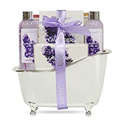 Bath Spa Gift Basket for Women, Body & Earth Lavender Scented Spa Gift 4pcs Set with Body Wash, Bubble Bath, Bath Salts and Soap Bar, Best Gift for Her
