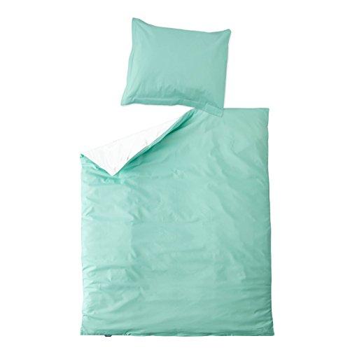 9081 Satin (Blau Aqua & Weiß - SoulBedroom 100% Baumwolle Bettwäsche Reversibel (Bettbezug 155x200 cm & 1 Kissenbezug 80x80 cm))