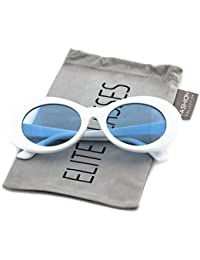 Elite Vintage NIRVANA Kurt Cobain Round Sunglasses For Women Men Eyewear (White-Blue