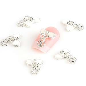 Yesurprise 10pcs Bijoux pour ongles strass Alliage Nœud papillon blanc Avec cœur