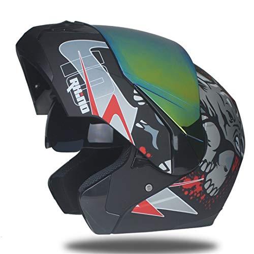 Preisvergleich Produktbild MetHlonsy Motorradhelm Racing Modular Zweilinsiger Motorrad-Moto-Helm Hochklapphigathelme b12 L