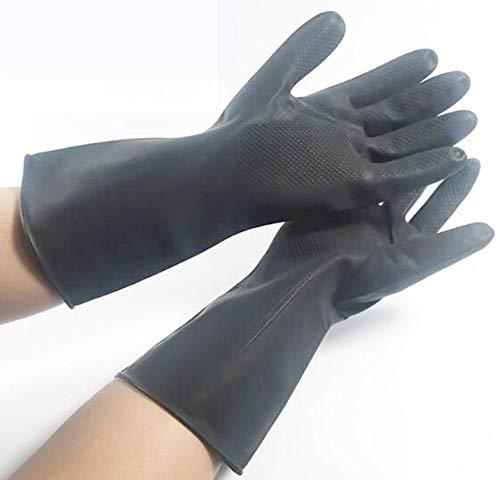 Hpybest Robuste Gummi-Handschuhe, säurebeständig, alkalibeständig, chemischer Handschuh für den Garten, Graben, Arbeiten, Versicherungshandschuhe - Aus Gummi Garten-handschuhe