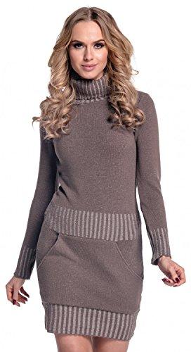 Glamour Empire. Damen Strickkleid Minikleid mit Stehkragen und Tasche vorne. 178