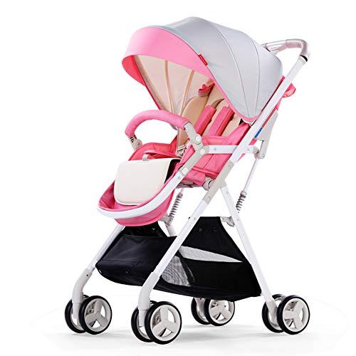 ALIFE Kinderwagen Leichte Tragbare Falten VierräDern Push Kann Sitzen Liegen Kinderwagen Regenschirm Kinderwagen Bb Auto,Pink