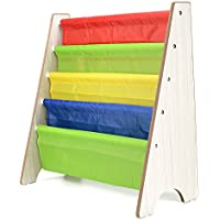 AllRight Kids Fun Book Shelf Bookcases Colourful Wood Sling Book Display Storage Rack for Children Bedroom White