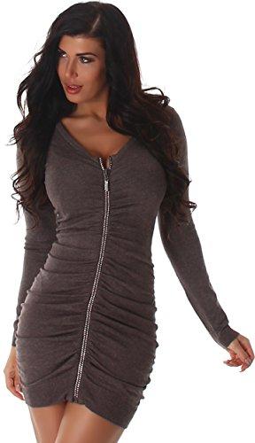 Voyelles Kleid Strickjacke Strickkleid Pullover Pulloverkleid Pulli Longshirt Langarm Uni V-Ausschnitt Reißverschluss Cocktail Partykleid Einheitsgröße Braun