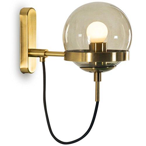 Applique Bronze Lampe Corps Fumé Gris Abat-jour Laiteux Salon Balcon Allée Couloir Escalier Lumières Style Européen Rétro Industriel Vent ( Couleur : Smoke gray )