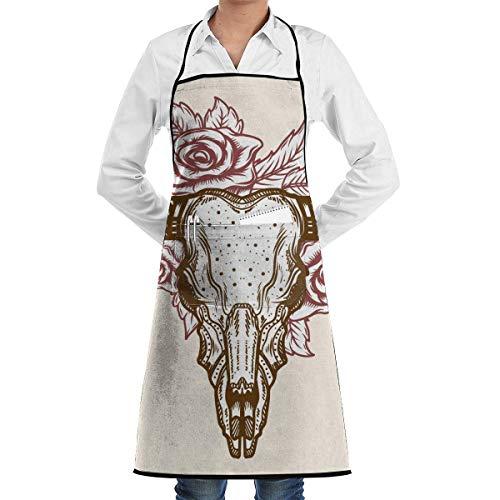 buy apron Hand Drawn Bull Aprons Bib for Mens Womens Halloween String Adjustable Adult Kitchen Waiter Schürzen mit Taschen
