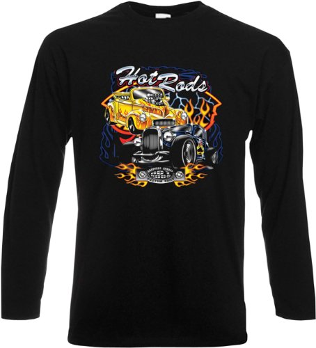 Langarmshirt, Farbe: Schwarz, USA Motiv: Hot Rods V8 Motors Schwarz