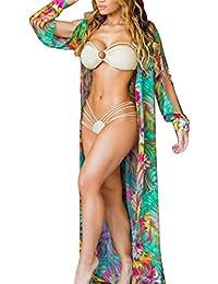 Babysbreath17 mujeres imprimieron Bikini Cover Up impresión floral de Bohemia protector solar Cardigan muchacha del kimono suelta traje de baño Mantón verde XL