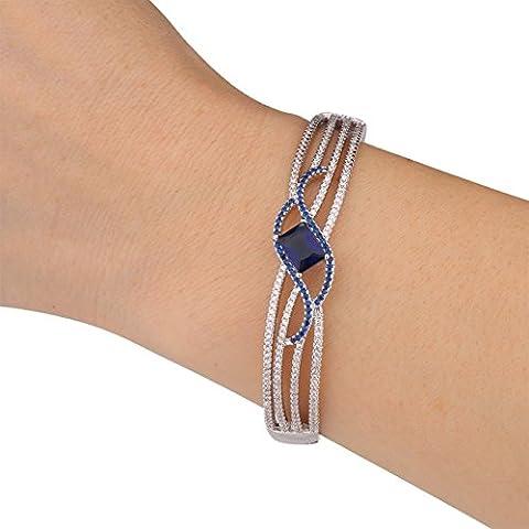 GULICX Bracelet Saphir Carré Femme Plaqué or Blanc Avec zircones cubiques,Bijoux Femme Fille