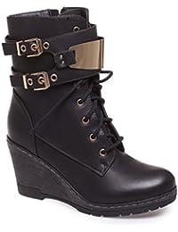 La Modeuse - Bottines style rangers noires en simili cuir à semelle compensée