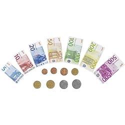 Goki - 51853 - Imitation - Argent Factice - 84 Billets de Banque en Papier - 32 Pièces de Monnaie en Plastique