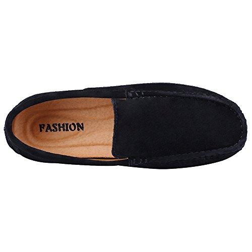 Rismart Men Slip On Comfortable Casual Dress Gamuza Mocasines De Alta Calidad Zapatos Negro