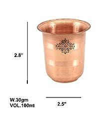 IndianArtVilla Small Copper Pooja Kids Glass Tumbler, Drinkware , Poojan Purpose, 100 ML, Copper