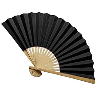 MEETEW Vintage Bamboo Folding Hand Fan Paper + Bamboo Hand Fan with Traditional Chinese Arts Handicraft