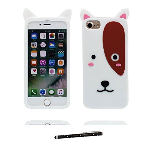 iPhone 6S Plus Custodia, morbida guarnizione TPU in gomma antigraffio protettiva Case copertura per iPhone 6s Plus /6 Plus 5.5 Cover + penna di tocco / Cartoon Progettato 3D maiale bianca