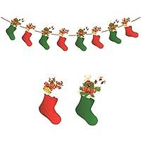 Hosaire 1x Doppelseitiger Druck Banners Kreative Weihnachtsstrumpf Weihnachts Szene dekorations Flagge Weihnachten Requisiten Lang 3m (24 * 12cm)