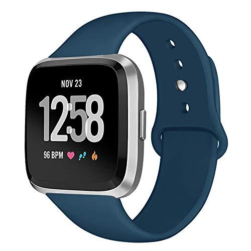 Kmasic Sport Armband Kompatibel Fitbit Versa/Fitbit Versa Lite Edition, Soft Silikon Ersatz Armband Kompatibel Fitbit Versa/Fitbit Versa Lite Edition Smartwatch, Klein, Schiefer