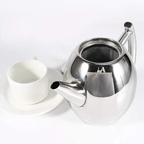 Teiera in acciaio inossidabile Caffettiera in Argento con filtro infuser grande capacità, inox, 1L