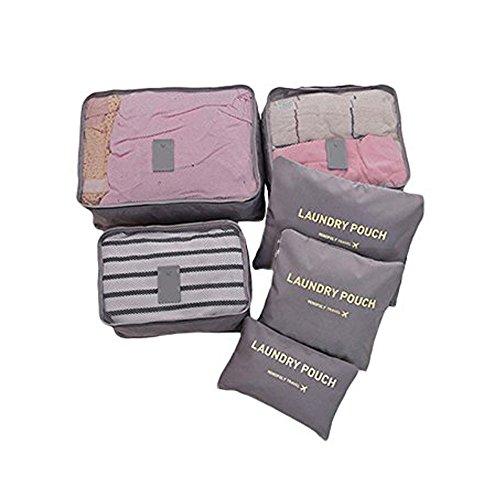 EUGO - 6 Stück Wasserdichte Kleidertaschen Reisetasche in Koffer Wäschebeutel Kosmetik Aufbewahrungstasche Kleidung Verpackungs Würfel Reisegepäck Veranstalter,Grau Grau